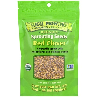 High Mowing Organic Seeds, Red Clover, Sprouting Seeds, 4 oz (113 g)