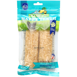 Himalayan Pet Supply, Himalayan Dog Chew, Happy Teeth, Dental, Cheese, 2 Pieces, 4 oz (113.3 g)