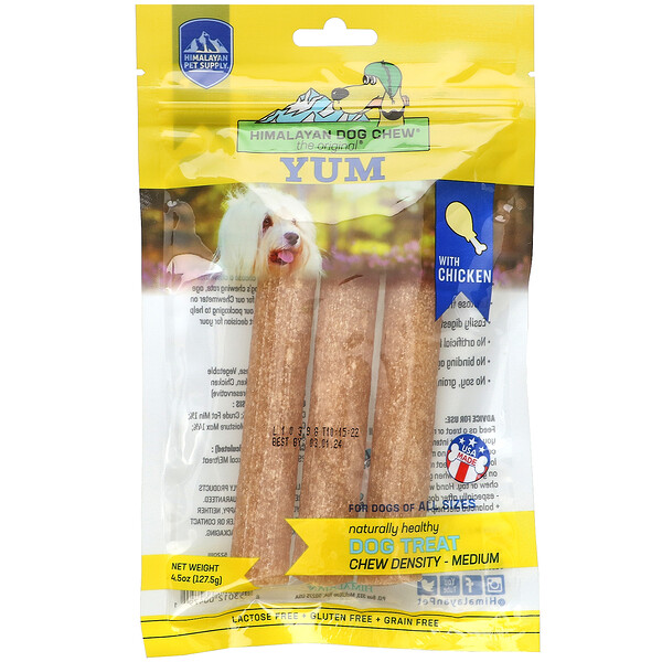 Himalayan Pet Supply, Himalayan Dog Chew, Yum, Medium, Chicken, 4.5 oz (127.5 g)