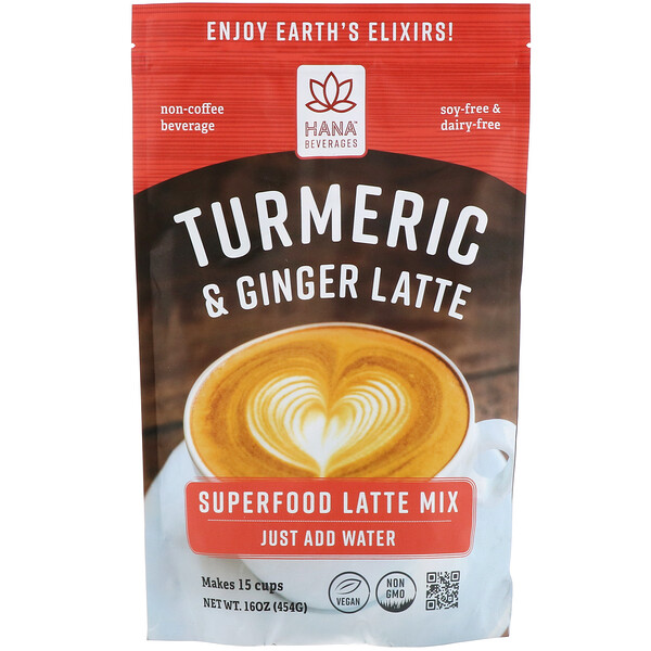 Hana Beverages, Turmeric & Ginger Latte, Non-Coffee Superfood Beverage, 16 oz (454 g) (Discontinued Item)