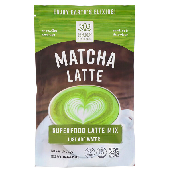 Hana Beverages, Matcha Latte, Non-Coffee Superfood Beverage, 16 oz (454 g) (Discontinued Item)