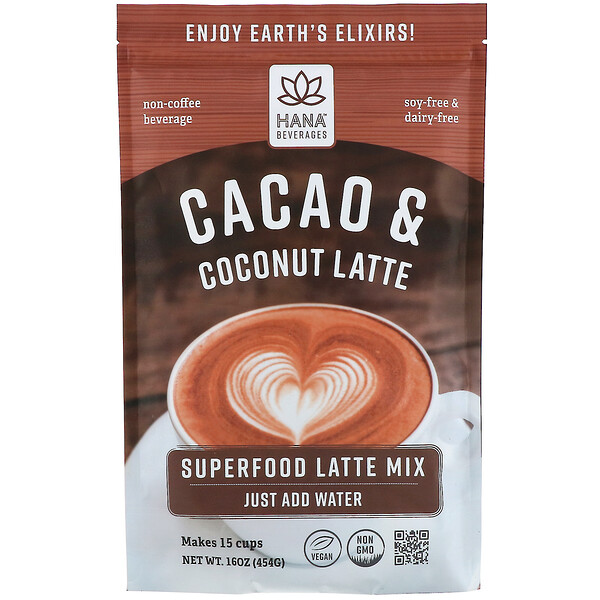 Hana Beverages, Latte de cacao y coco, Bebida sin café a base de superalimentos, 454 g (16 oz) (Discontinued Item)