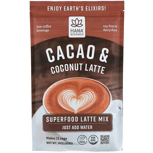 Hana Beverages, Cacao & Coconut Latte, Non-Coffee Superfood Beverage, 16 oz (454 g) отзывы покупателей