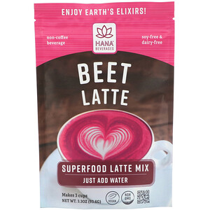 Hana Beverages, Beet Latte, Non-Coffee Superfood Beverage, 3.3 oz (93.6 g)