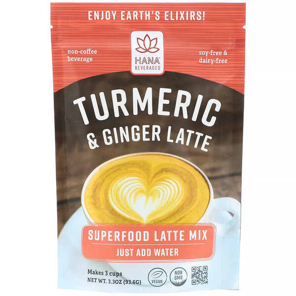 Hana Beverages, Turmeric & Ginger Latte, Non-Coffee Superfood Beverage, 3.3 oz (93.6 g)