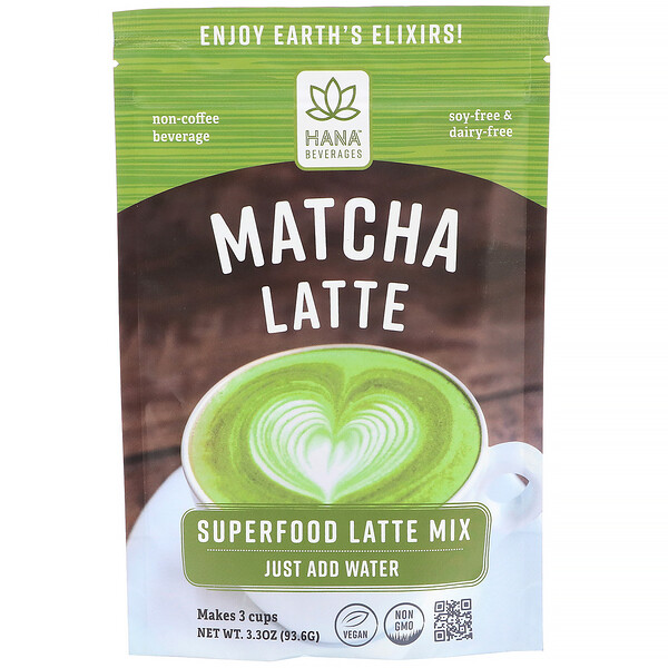Hana Beverages, Latte con matcha, bebida a base de superalimentos sin café, 93,6 g (3,3 oz) (Discontinued Item)