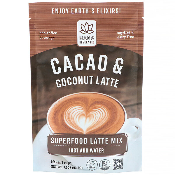 Hana Beverages, Latte de cacao y coco, bebida a base de superalimentos sin café, 93,6 g (3,3 oz) (Discontinued Item)