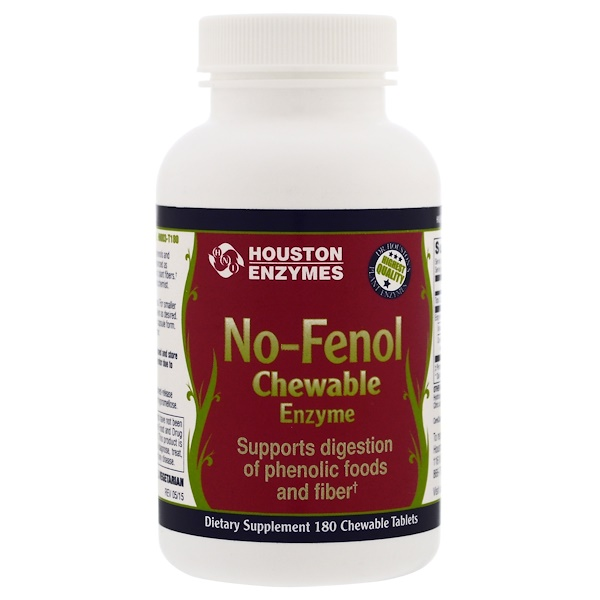 Houston Enzymes, No-Fenol, Chewable, Multi-Enzyme, 180 Chewable Tablets