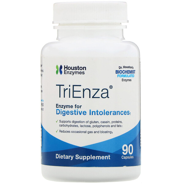 Houston Enzymes, TriEnza, Enzyme For Digestive Intolerances, 90 Capsules