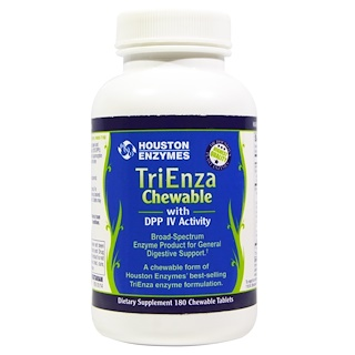 Houston Enzymes, TriEnza Chewable, with DPP IV Activity, 180 Chewable Tablets