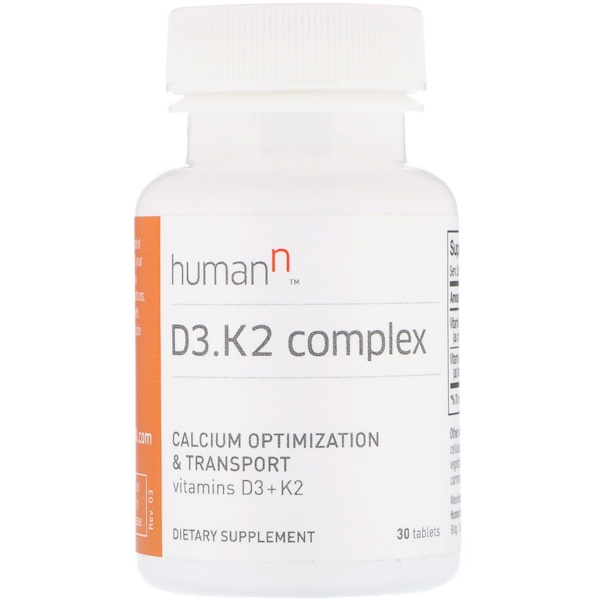 HumanN, D3、K2 Complex, Calcium Optimization & Transport, 30 Tablets