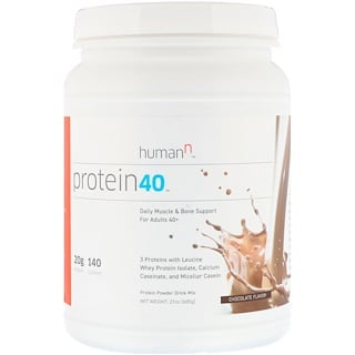 HumanN, Protein 40, Daily Muscle & Bone Support For Adults 40+, Chocolate Flavor, 1.3 lbs (600 g)