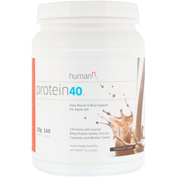 HumanN, Protein 40, Daily Muscle & Bone Support For Adults 40+, Chocolate Flavor, 1.3 lbs (600 g) (Discontinued Item)
