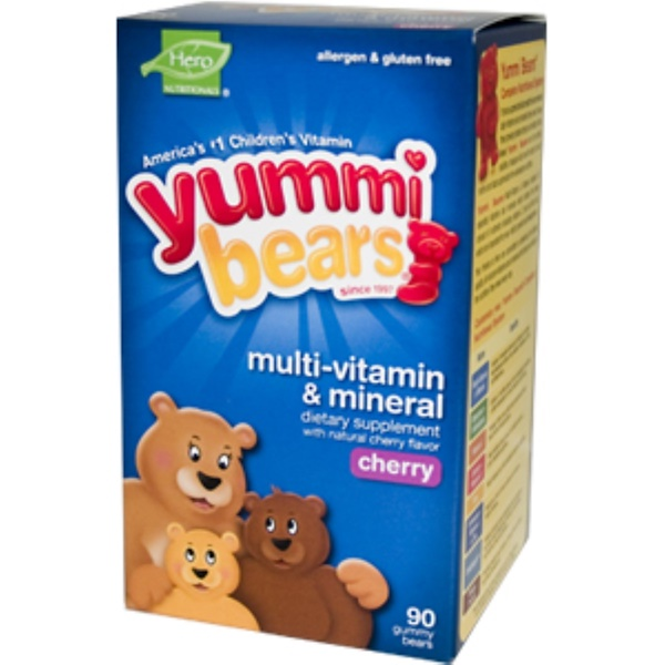 Hero Nutritional Products, Yummi Bears, Multi-Vitamin & Mineral, Cherry, 90 Gummy Bears (Discontinued Item)