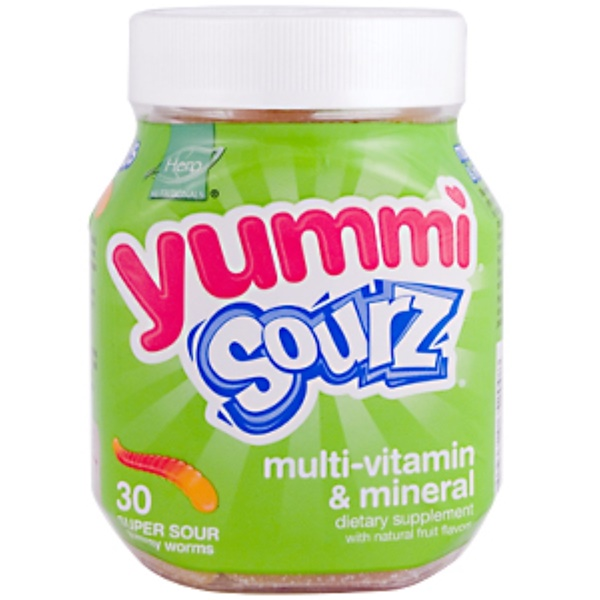 Hero Nutritional Products, Yummi Gworms Sourz, Multi-Vitamin & Mineral, 30 Super Sour Gummy Worms (Discontinued Item)