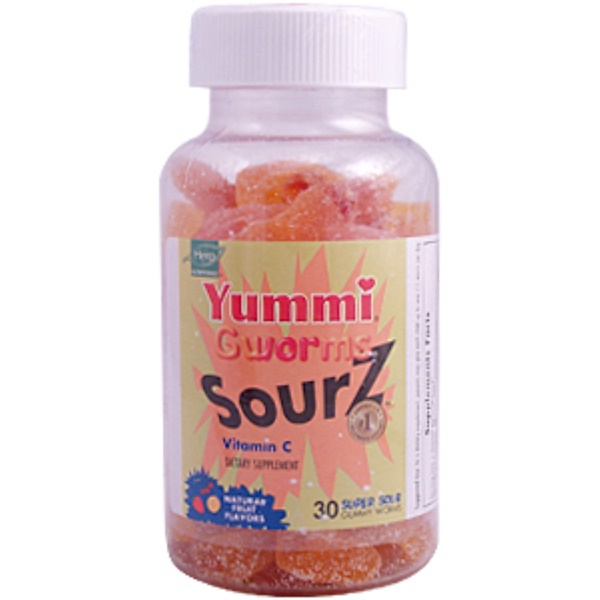 Hero Nutritional Products, Yummi Gworms Sourz, Vitamin C, 30 Gummy Worms (Discontinued Item)