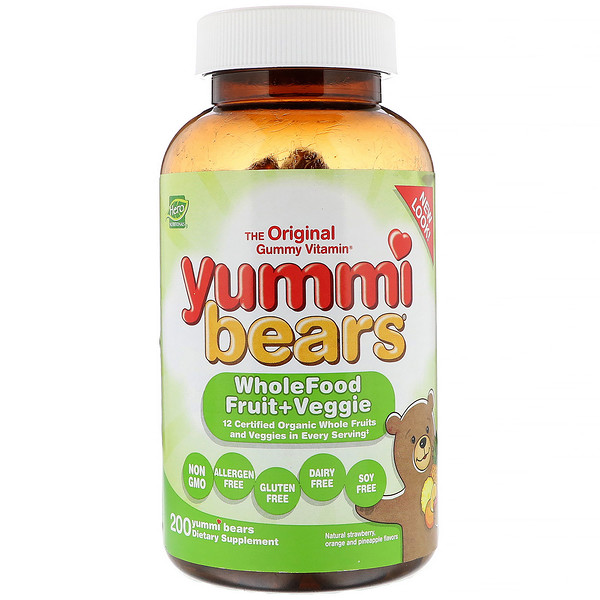 Hero Nutritional Products, Yummi Bears, Wholefood Fruit + Veggie, Natural Strawberry, Orange and Pineapple, 200 Yummi Bears
