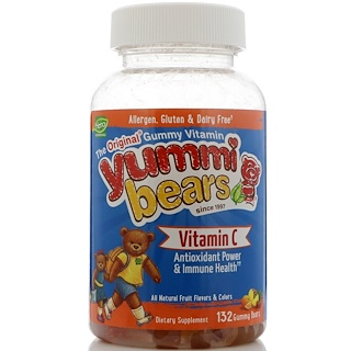 Hero Nutritional Products, Yummi Bears, Vitamin C, All Natural Fruit Flavors, 132 Gummy Bears