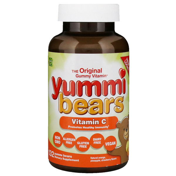 Hero Nutritional Products, Yummi Bears, Vitamin C, Natural Orange, Pineapple, Strawberry Flavors, 132 Yummi Bears
