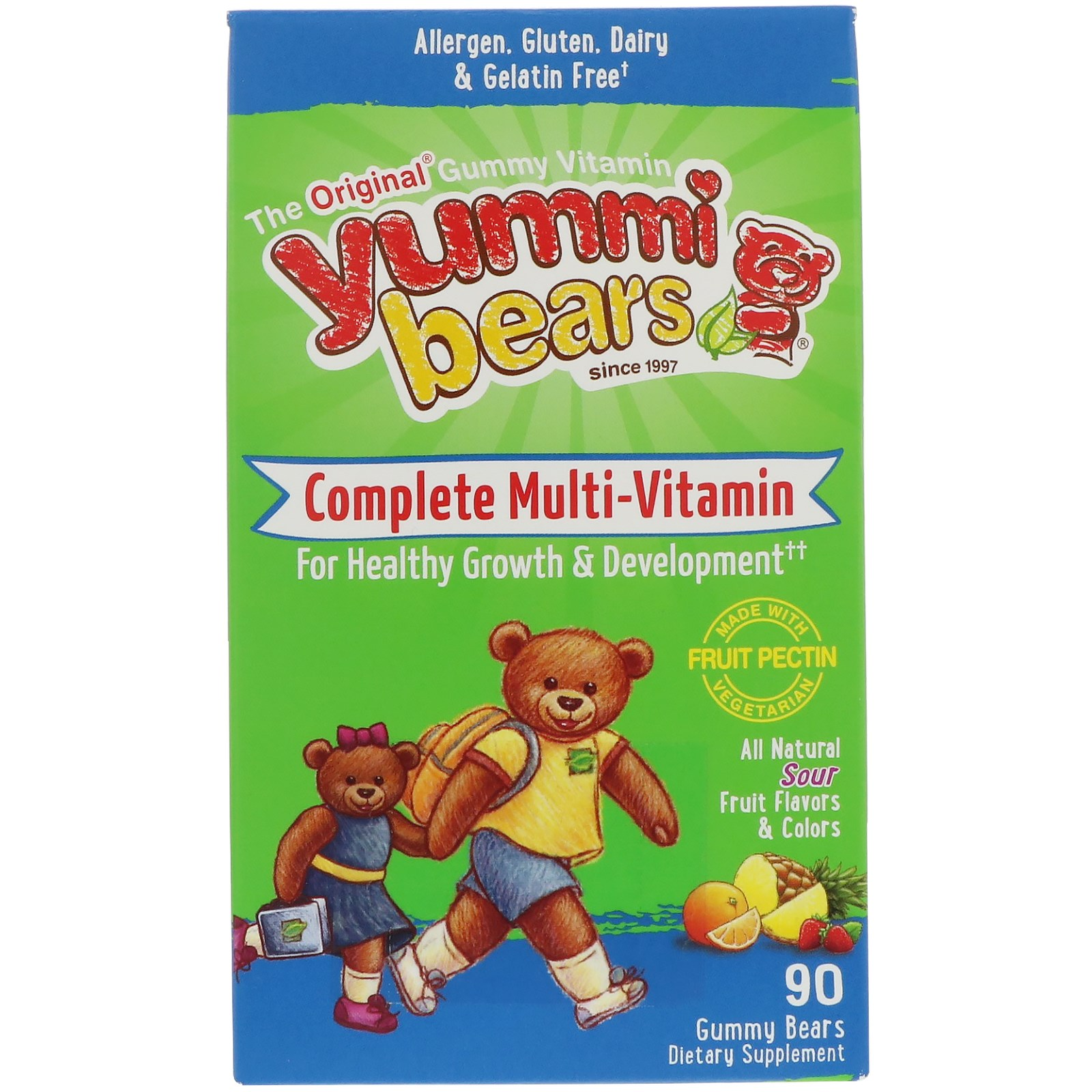 Hero Nutritional Products, Yummi Bears, комплекс мультивитаминов, натуральные фруктовые вкусы, 90 мишек