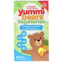 Вкусные мишки, полный комплекс витаминов, вегетарианский продукт, вкус натуральных фруктов, 90 жевательных конфет в виде медвежат - фото