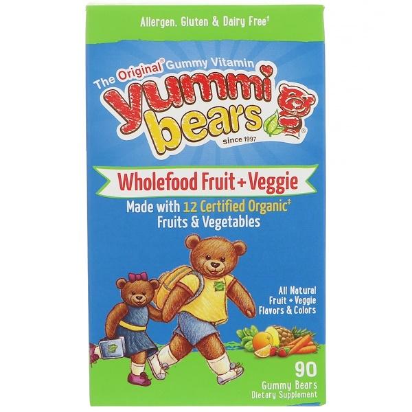 Hero Nutritional Products, Yummi Bears, Wholefood Fruit + Veggie, 90 Gummy Bears