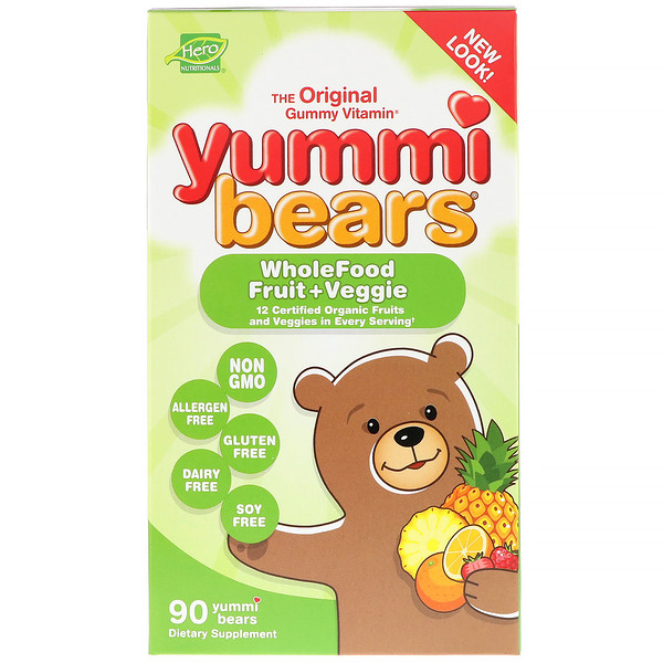 Hero Nutritional Products, Yummi Bears, Wholefood Fruit + Veggie, 90 Yummi Bears