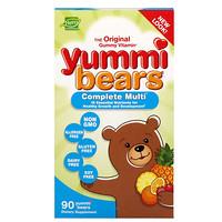 Yummi Bears, мультивитаминный комплекс, натуральный фруктовый вкус, 90вкусных жевательных мишек - фото