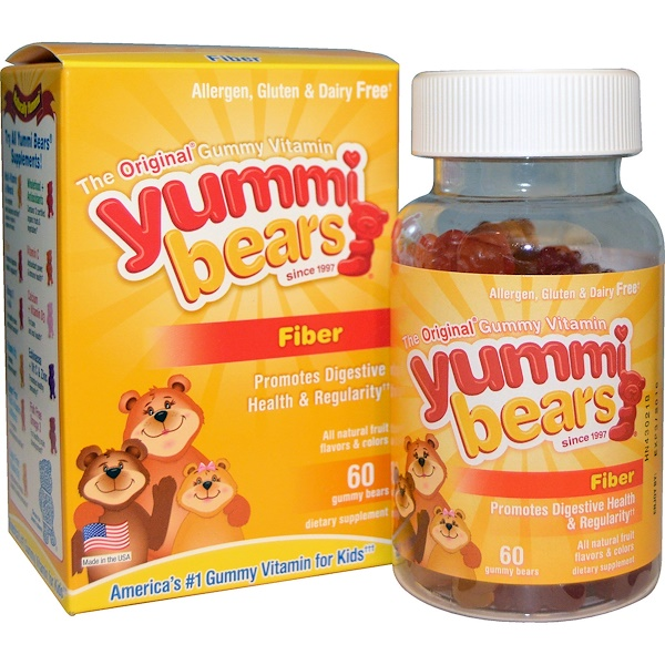 Hero Nutritional Products, Yummi Bears, Fiber, All Natural Fruit Flavors, 60 Gummy Bears
