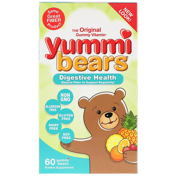 :Hero Nutritional Products, Yummi Bears, Fiber, All Natural Fruit Flavors, 60 Gummy Bears