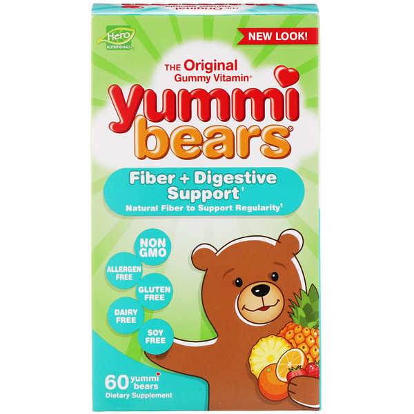 Hero Nutritional Products, Yummi Bears, Fiber + Digestive Support, 60 Yummi Bears