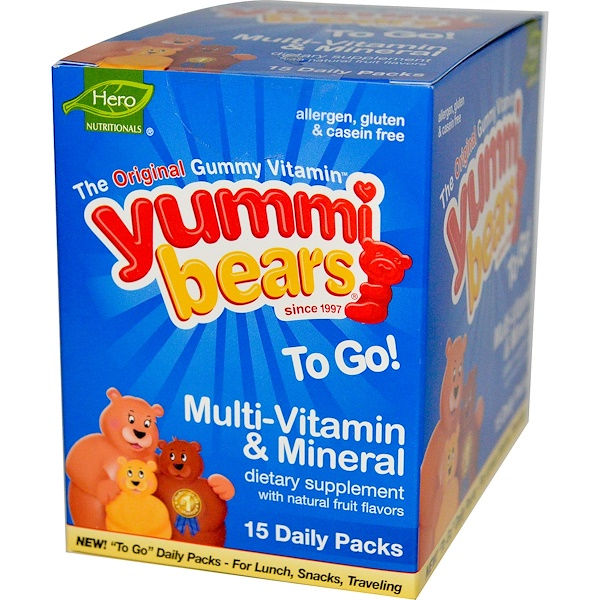 Hero Nutritional Products, Yummi Bears, To Go, Multi-Vitamin & Mineral, Natural Fruit Flavors, 15 Daily Packs (Discontinued Item)