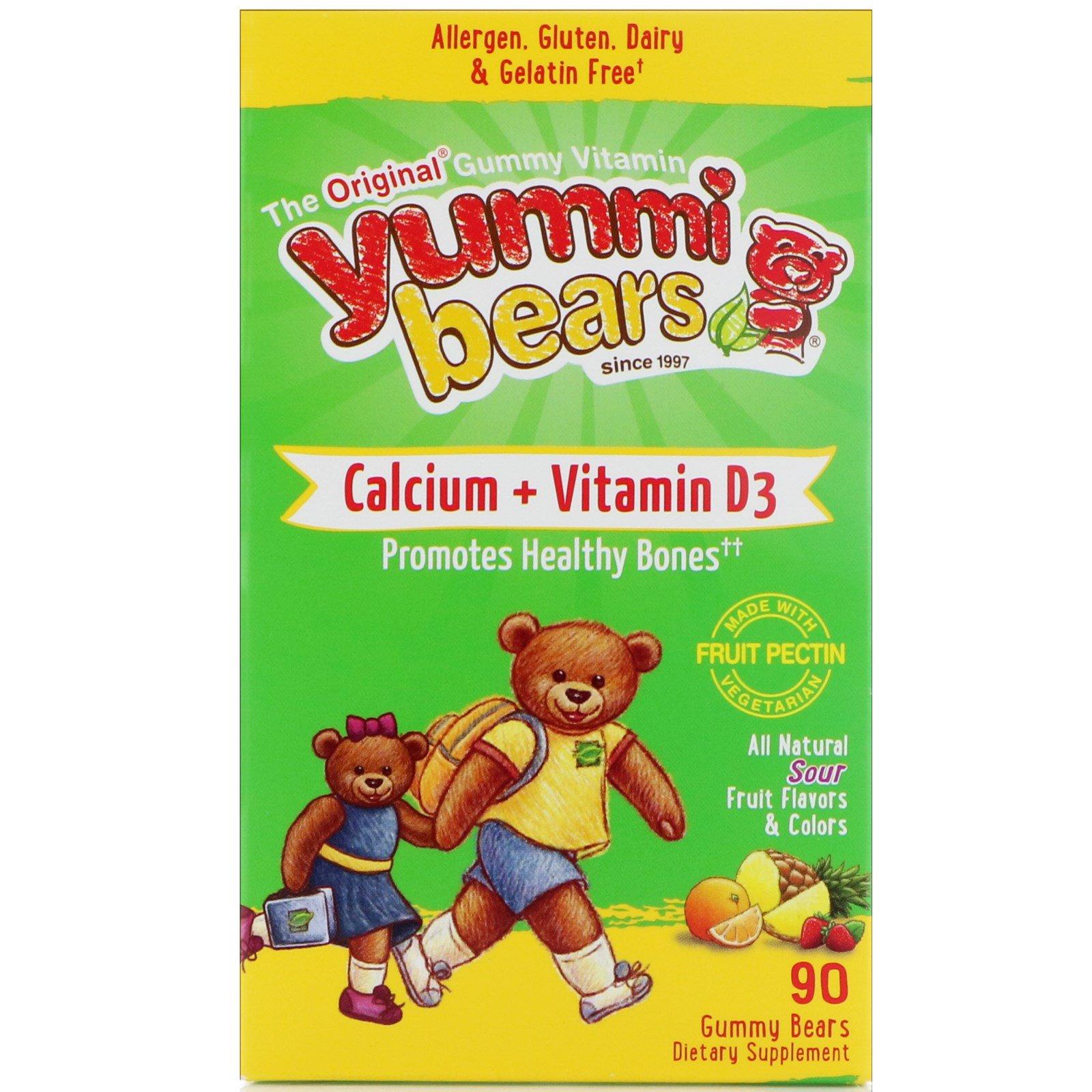 Hero Nutritional Products, Вкусные мишки, кальций + витамин D3, вкус натуральных фруктов, 90 жевательных медвежат