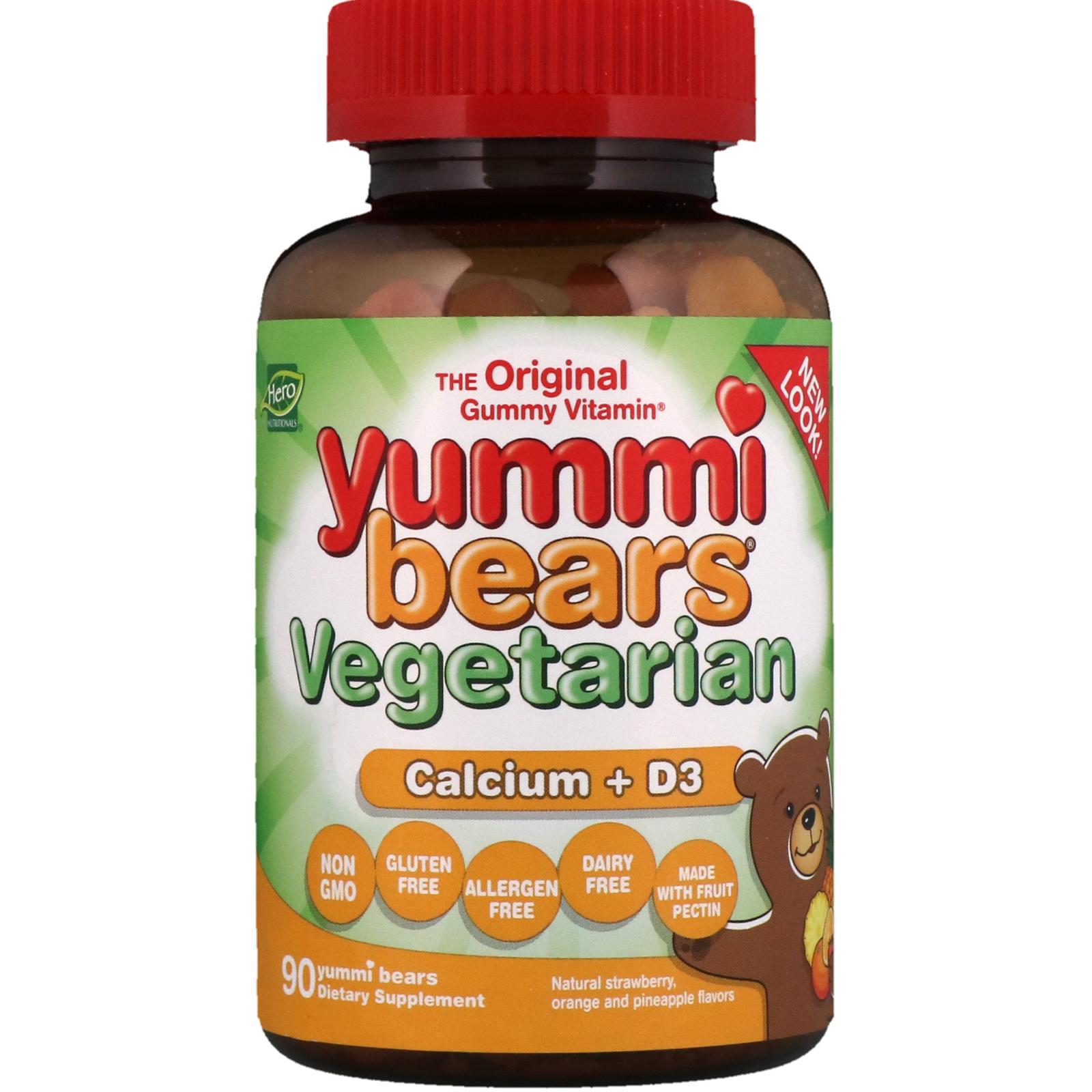 Hero Nutritional Products, Yummi Bears Vegetarian, Calcium + D3, 90