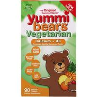 Вегетарианские вкусные мишки, кальций + D3, 90 жевательные конфеты в виде медвежат - фото