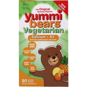 Хиро Нутришнэл Продуктс, Yummi Bears Vegetarian, Calcium + D3, 90 Gummy Bears отзывы