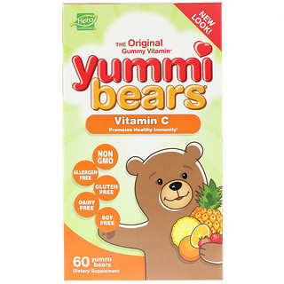 Hero Nutritional Products, Yummi Bears, Vitamin C, All Natural Fruit Flavors, 60 Yummi Bears