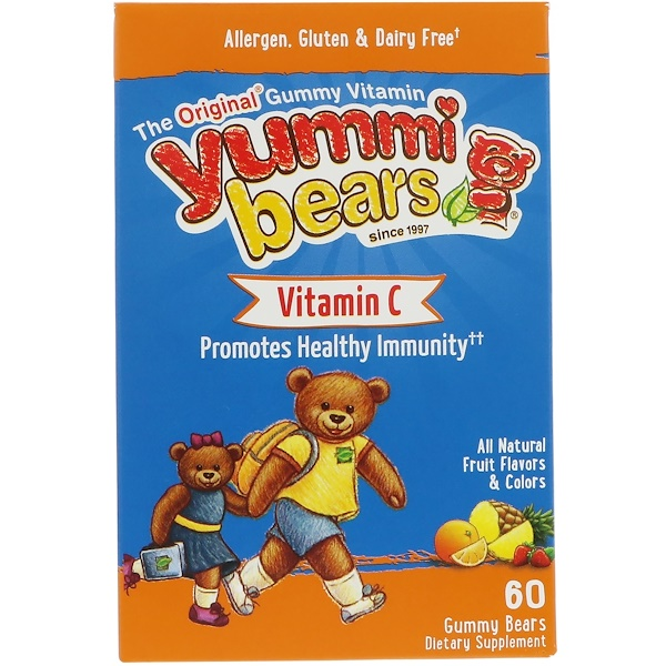 Hero Nutritional Products, Yummi Bears, Vitamin C, All Natural Fruit Flavors, 60 Gummy Bears