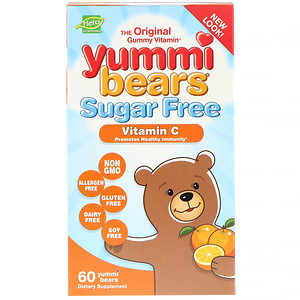 Хиро Нутришнэл Продуктс, Yummi Bears, Vitamin C, Sugar Free, All Natural Fruit Flavors, 60 Gummy Bears отзывы