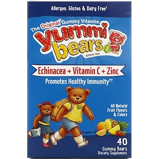Hero Nutritional Products, Yummi Bears, Echinacea + Vitamin C + Zinc, All Natural Fruit Flavors, 40 Gummy Bears