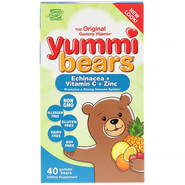 Hero Nutritional Products, Yummi Bears Equinácea + Vitamina C + Zinc, 40 Yummi Bears