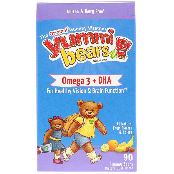 Hero Nutritional Products, Yummi Bears, Omega 3 + DHA, Natural Fruit Flavors, 90 Gummy Bears
