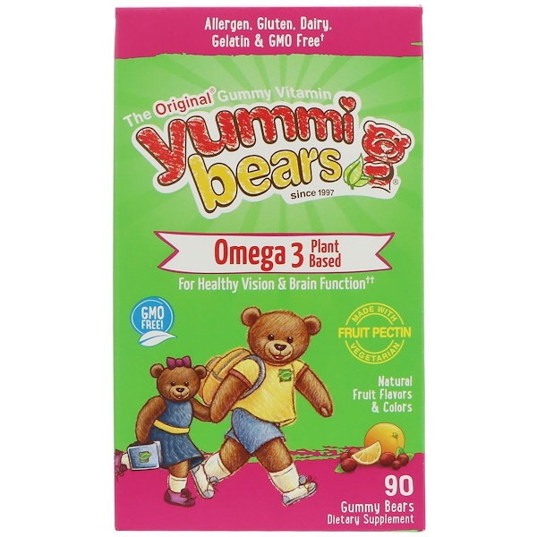 Hero Nutritional Products, Yummi Bears, Omega 3 Plant Based, Natural Fruit Flavors, 90 Gummy Bears