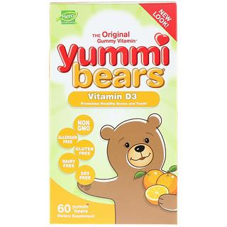 Hero Nutritional Products, ヤミーベアーズ、ビタミンD3、すべて天然のフルーツ味、600IU、グミベアー60粒