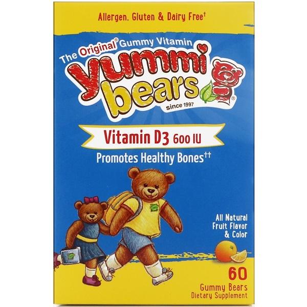 Hero Nutritional Products, Yummi Bears, витамин D3, полностью натуральные фруктовые вкусоароматические добавки, 600 МЕ, 60 жевательных медвежат