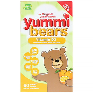 Хиро Нутришнэл Продуктс, Yummi Bears, Vitamin D3, All Natural Fruit Flavor, 600 IU, 60 Yummi Bears отзывы покупателей
