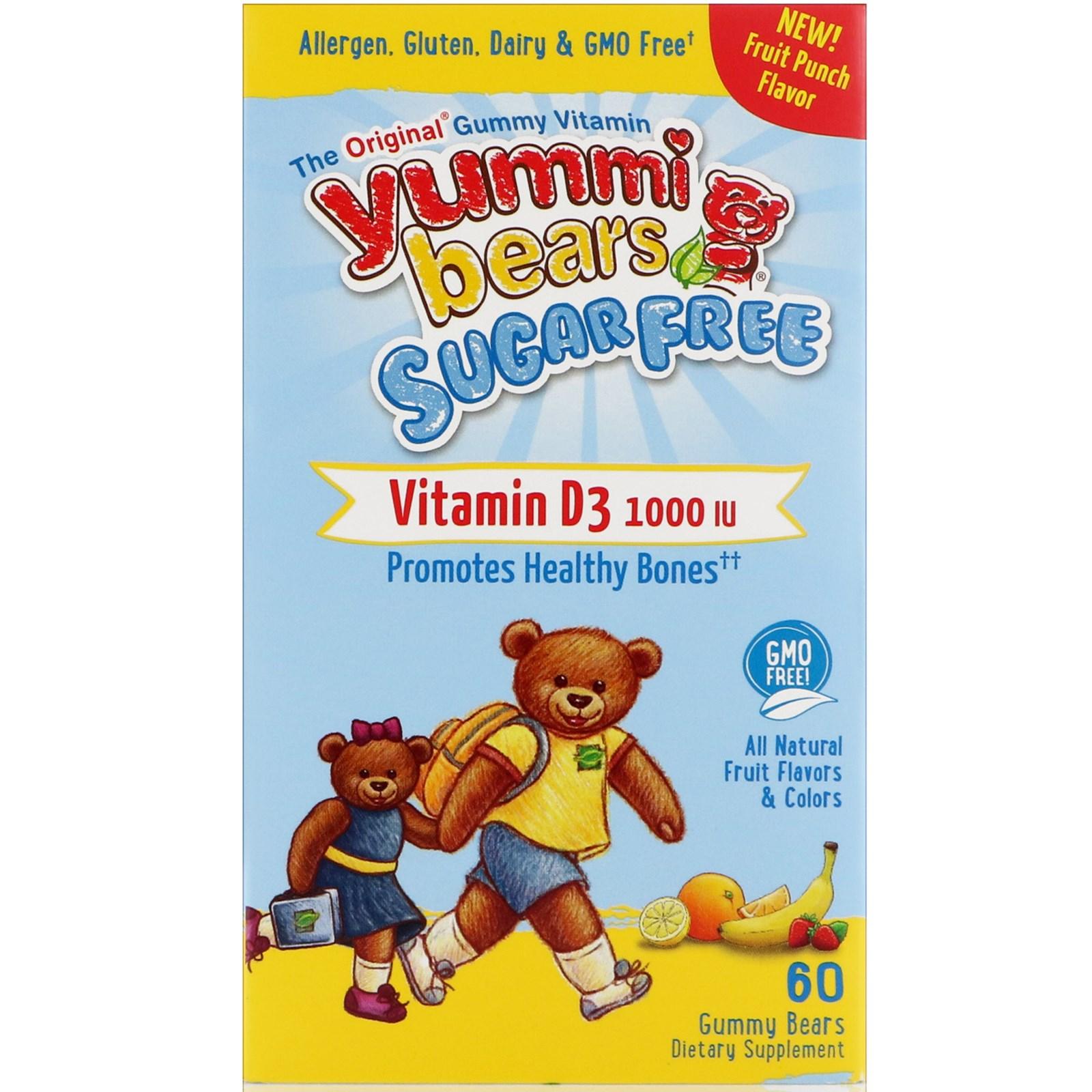 Hero Nutritional Products, Yummi Bears, витамин D3, не содержит сахар, вкус - фруктовый пунш, 1000 МЕ, 60 жевательных медвежат