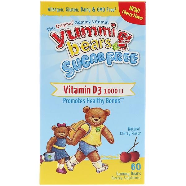 Hero Nutritional Products, Yummi Bears, Vitamin D3, Sugar Free, Natural Cherry Flavor, 1000 IU, 60 Gummy Bears