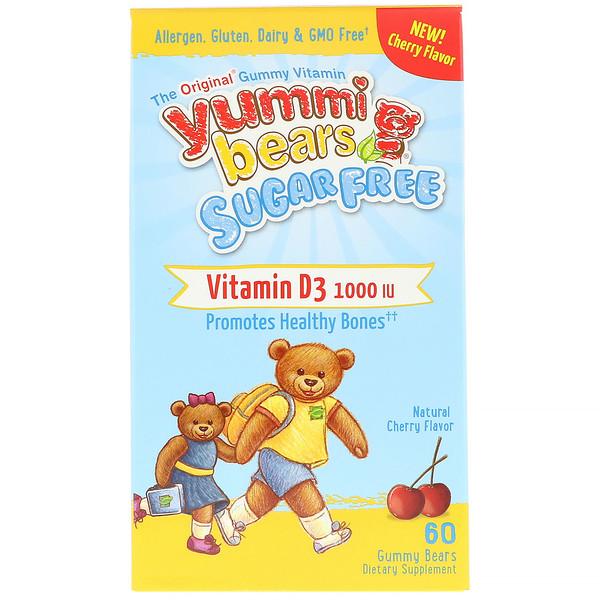 Hero Nutritional Products, ヤミーベアーズ、ビタミンD3、無糖、天然のチェリー味、1000 IU、グミベア60粒
