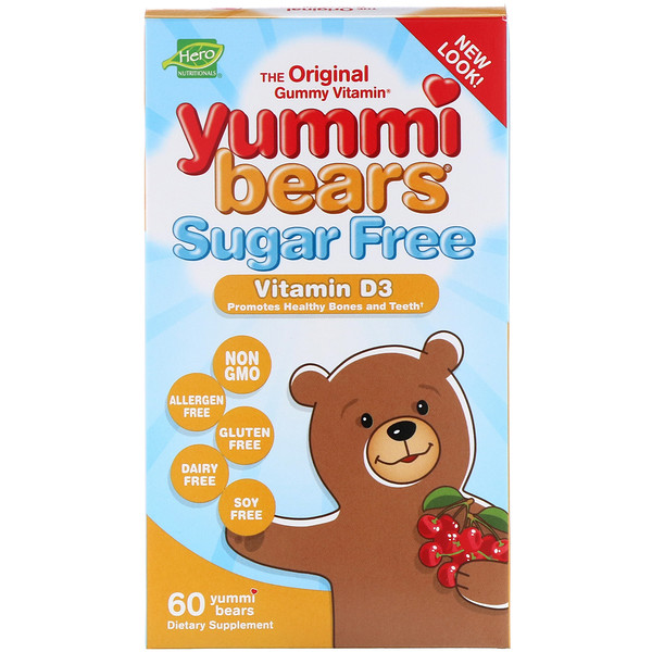 Hero Nutritional Products, Yummi Bears, Vitamin D3, Sugar Free, Natural Cherry Flavor, 60 Gummy Bears